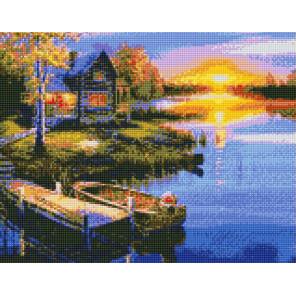 Закат на озере Алмазная вышивка мозаика на подрамнике на подрамнике WB11808