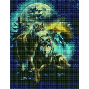 Волки в ночи Алмазная вышивка мозаика на подрамнике на подрамнике WB11807