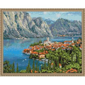 Городок у моря (И. Прищепа) Алмазная вышивка мозаика с нанесенной рамкой Molly KM0910