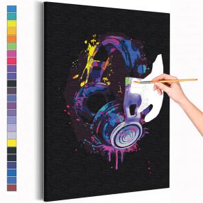 Наушники радужные / Музыка Раскраска картина по номерам на холсте с неоновыми красками AAAA-RS302