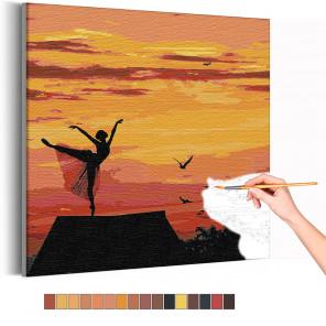 Балет / Девушка и закат Раскраска картина по номерам на холсте AAAA-RS310