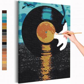 Грампластинка / Музыка Раскраска картина по номерам на холсте с металлической краской AAAA-RS148