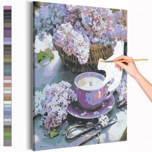Сирень и чашка кофе / Цветы Раскраска картина по номерам на холсте AAAA-RS225