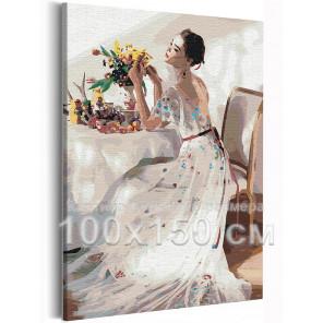 Девушка и букет цветов на столе 100х150 см Раскраска картина по номерам на холсте AAAA-RS210-100x150