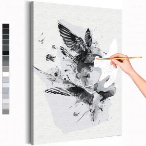 Девушка и птицы / Абстракция Раскраска картина по номерам на холсте AAAA-RS291