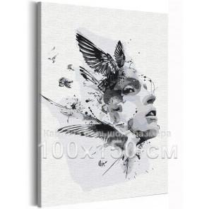 Девушка и птицы / Абстракция 100х150 см Раскраска картина по номерам на холсте AAAA-RS291-100x150