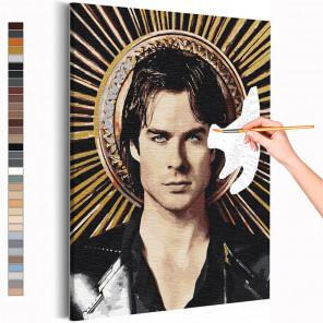 Деймон Дневники вампира Раскраска картина по номерам на холсте с металлической краской AAAA-RS367