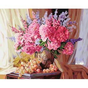 Виноградно-пионовое Раскраска ( картина ) по номерам акриловыми красками на холсте Белоснежка