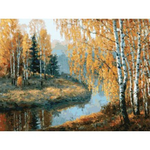 Вот и осень пришла Раскраска картина по номерам акриловыми красками на картоне Белоснежка