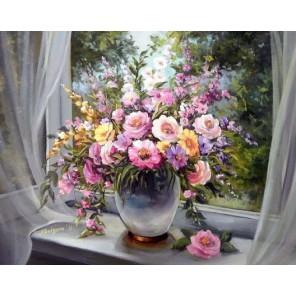 Цветы на подоконнике Алмазная мозаика вышивка Гранни   Алмазная мозаика купить
