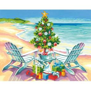 Рождество на пляже Раскраска картина по номерам акриловыми красками Dimensions