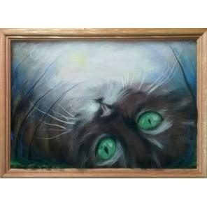 Лунный кот Картина из шерсти с рамкой