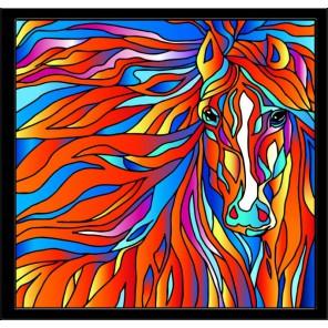 Огненная лошадь Набор с рамкой для создания картины-витража Color Kit