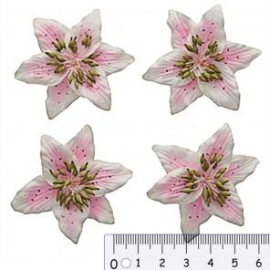 Цветы лилии бело-розовые Цветы бумажные для скрапбукинга, кардмейкинга Scrapberry's