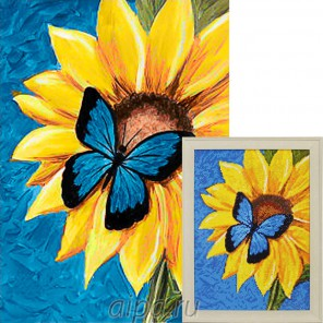 Бабочка и подсолнух Алмазная вышивка мозаика Гранни