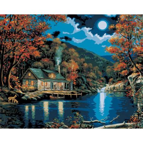 Хижина в лунном свете Раскраска картина по номерам Plaid ...