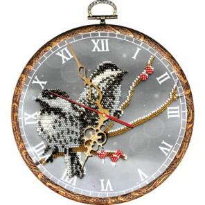Часы Воробьи Набор с рамкой для частичной вышивки бисером Вышиваем бисером