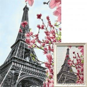 Символ Парижа Алмазная вышивка мозаика Гранни с примером готовой работы в рамке