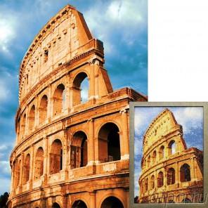 Колизей Алмазная вышивка мозаика Гранни с примером готовой работы в рамке