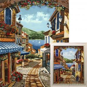 Курортная улочка Алмазная вышивка мозаика Гранни с примером готовой работы в рамке