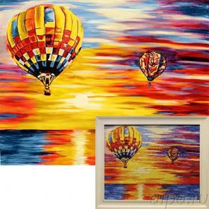 Воздушное путешествие Алмазная вышивка мозаика Гранни с примером готовой работы в рамке
