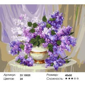 Количество цветов и сложность Ароматная сирень Раскраска картина по номерам акриловыми красками на холсте