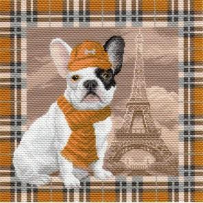 Французский бульдог в Париже Ткань с рисунком Матренин посад