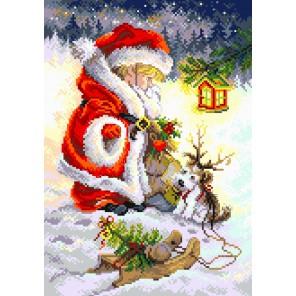 Юный Санта Канва с рисунком для вышивки Матренин посад