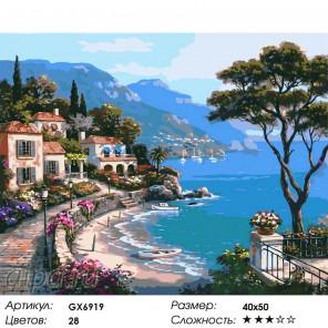 Живописная бухта средиземноморья Раскраска картина по номерам на холсте