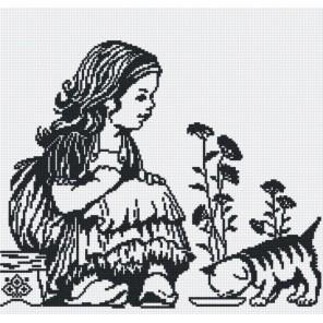 Девочка с котенком (графика) Набор для вышивания МП Студия