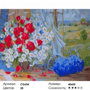 Полевые цветы Раскраска по номерам акриловыми красками на холсте Color Kit