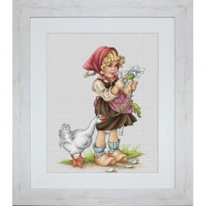 Девочка с гусем Набор для вышивания Luca-S
