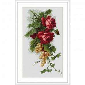 Красные розы с виноградом Набор для вышивания Luca-S