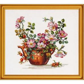 Шиповник в медном чайнике Набор для вышивания Eva Rosenstand 12-278