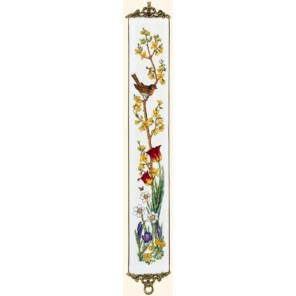 Птичка на ветке, тюльпаны, весна Набор для вышивания Eva Rosenstand 13-262