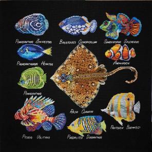 Рыбы (может использоваться для создания подушки) Набор для вышивания Марья Искусница 14.001.09