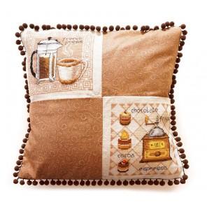 Кофейная (может использоваться для создания подушки) Набор для вышивания Марья Искусница 14.001.11
