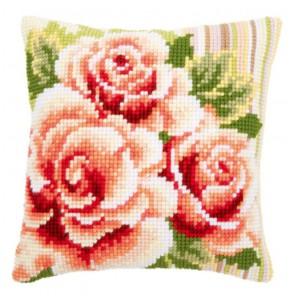 Розовые розы I Набор для вышивания подушки VERVACO