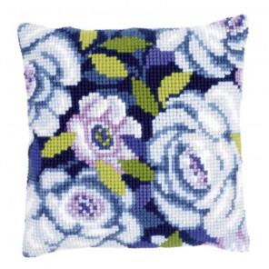 Голубые цветы Набор для вышивания подушки VERVACO