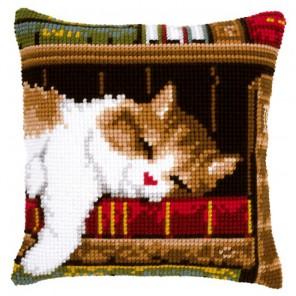 Спящий кот на книжной полке Набор для вышивания подушки VERVACO