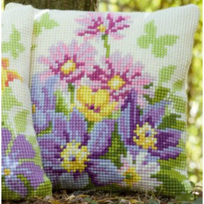 Цветы в пастельных тонах Набор для вышивания подушки VERVACO