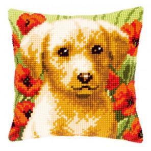 Лабрадор в цветах Набор для вышивания подушки VERVACO