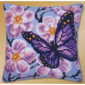 Фиолетовая бабочка Набор для вышивания подушки VERVACO