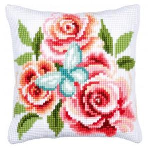 Бабочки и розы Набор для вышивания подушки VERVACO