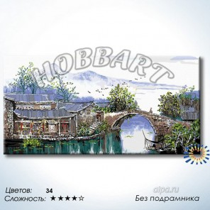 Количество цветов и сложность По старинному мостику Раскраска по номерам на холсте Hobbart DH60120030