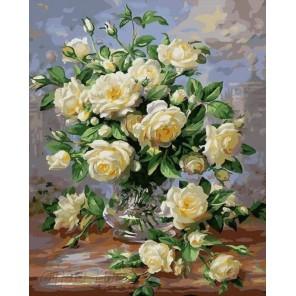 Количество цветов и сложность Белые розы Раскраска картина по номерам на холсте G439