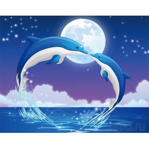 Дельфины Алмазная частичная вышивка (мозаика) D-2216