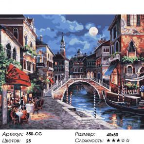 Количество цветов и сложность Ночная Венеция Раскраска картина по номерам на холсте Белоснежка 350-CG