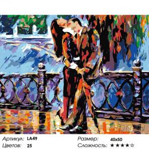 Количество цветов и сложность Свидание на набережной Раскраска картина по номерам на холсте LA49
