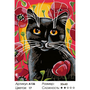 Количество цветов и сложность Прогулка в маках Раскраска картина по номерам на холсте A136